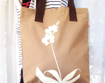 SALE Tan Orchid Shoulder Tote Bag