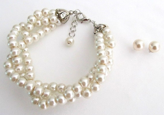 Ivory Pearl Glass Pearl Twisted Pearl Bracelet,Twisted bracelet Ivory Pearl Bracelet Bridal Bridesmaid Wedding Jewelry Free Shipping In USA