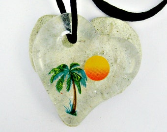 Palm Tree and Sun Heart Fused Glass Pendant