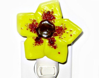 Yellow Abstract Fused Glass Flower Night Light