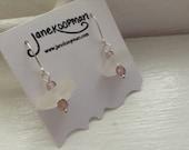 Purple and White Beach Glass Earrings