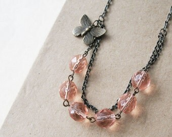 Peach Butterfly Beaded Necklace. Spring Jewelry.