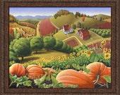 Autumn Appalachia Rural Country Farm Landscape, Appalachian Pumpkin Patch, Folk Art, Framed Canvas Print, Amish, Americana Decor
