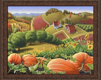 Autumn Appalachia Rural Country Farm Landscape, Appalachian Pumpkin Patch, Folk Art, Framed Canvas Print, Amish, Americana Decor