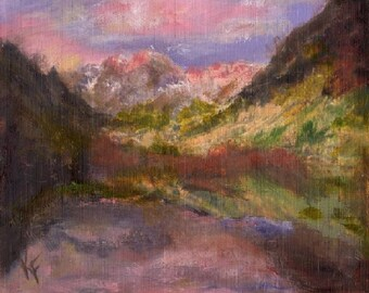 Maroon Bells Sunrise Colorado 8x10 Canvas Giclee of Original Oil Painting by Kathleen Farmer Denver Artist