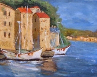 White Boats 8x10 Canvas Giclee Print of Original Oil Painting by Kathleen Farmer Denver Artist