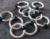 Dangle Free Knitting Stitch Markers Midnight Blue Iris Choose Ring Size and Quantity