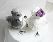 Wedding cake topper  Love Birds - Love Birds cake topper  - Fabric Bird Cake Topper- CUSTOM ORDER