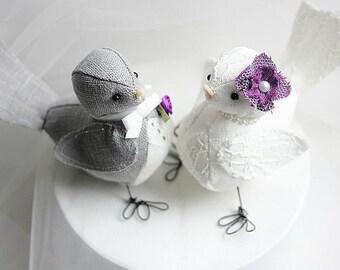 Wedding cake topper  Love Birds - Love Birds cake topper  -Something Blue - Fabric Bird Cake Topper- CUSTOM ORDER
