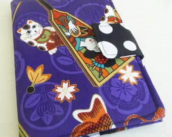 Purple Maneki Neko Kindle 4 or 5 Cover Soft Book Style Case also fits Kindle Voyage and Kobo Touch