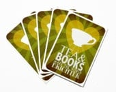 Tea & Books Stickers - Pack of 5 Book Lovers Vinyl Stickers with Tea Cup Illustration