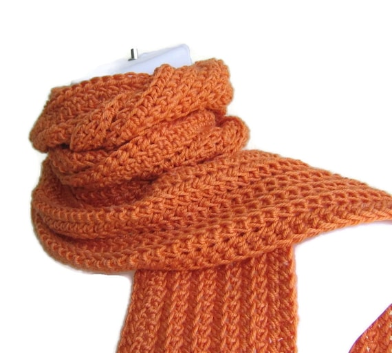 Solid Orange Scarf Pumpkin Men Unisex Women Crochet Classic Scarf Vegan GABLE Ready to Ship - Fall, Winter Fashion