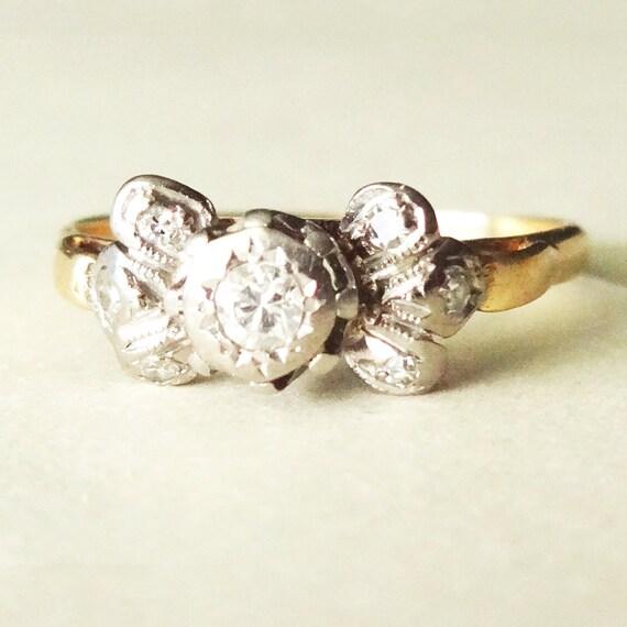 deco bow ring 18k gold platinum antique