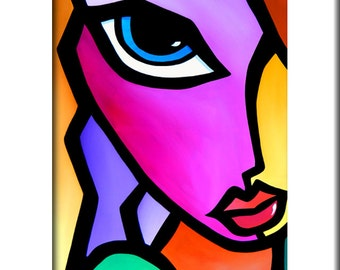 Abstract painting Modern pop Art print Contemporary colorful portrait face decor by Fidostudio