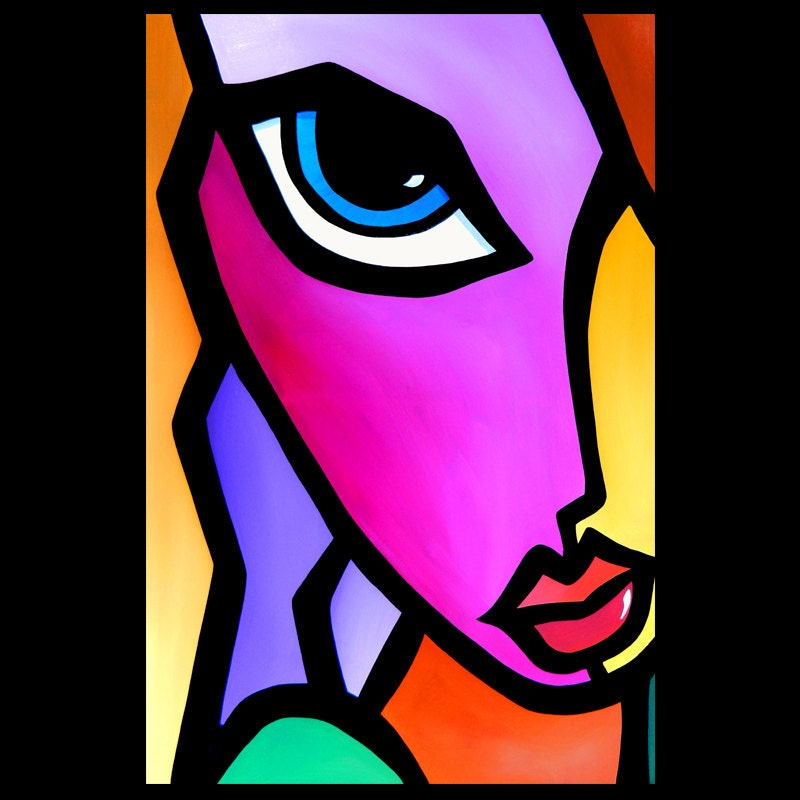accent original abstract huge modern pop art deco face painting by fidostudio. Black Bedroom Furniture Sets. Home Design Ideas