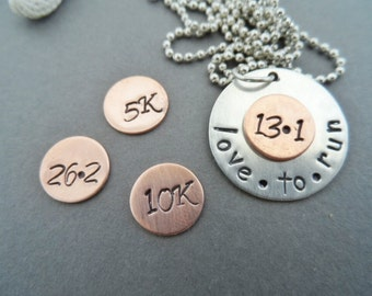 Love to Run Sterling Silver and Copper Necklace, Race necklace, marathon necklace,  silver necklace, custom necklace