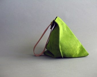 13in Wedge - Leaf green suede leather bag SALE