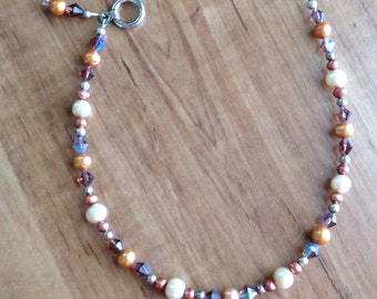 Freshwater Pearl and Crystal Ankle Bracelet