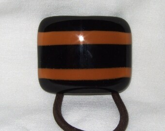 Glass Ponytail Holder, Black and Orange Fused Glass, Handmade Hair Accessories, Women's Accessories, Curved Glass Hair Tie