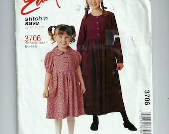 McCalls' Girl's Dress Pattern 3706