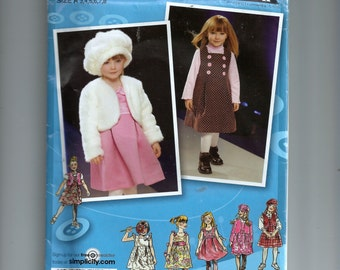 Simplicity Child's Dress or Jumper, Jacket or Vest and Hat Pattern 2828