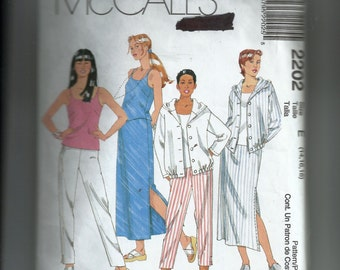 McCall's Misses' Blouson Top, Tank Top, Pull-On Pants and Skirt Pattern 2202