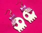 Kawaii Skull Earrings - Chunky white skulls with hot pink ribbons, hearts & flowers - Day of the Dead, Halloween, Gothic Lolita, creepy cute