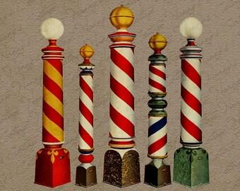 Vintage Digital Graphics Instant Download Barber Shop Poles Antique Advertising