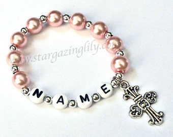 Pink Pearl and Silver Bracelet Personalized Name Bracelet with Cross Charm Child Jewelry Easter Party Favor Infant Children Kid Adult Sizes