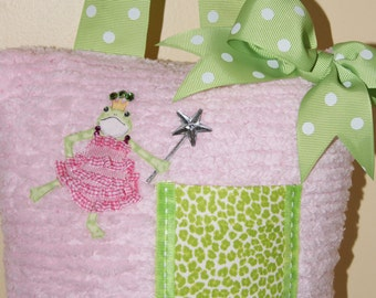 Boutique Chenille Tooth Fairy Pillow Carly Frog Princess Green Leopard Polka Dot