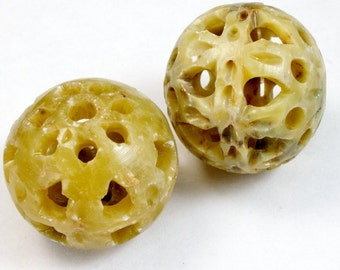 30mm Carved Soapstone Bead #2686