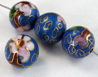 12mm Blue Cloisonné Bead (2 Pcs)  #1520