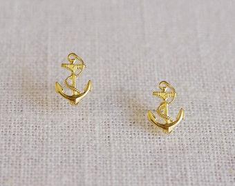 anchor stud earrings . nautical anchor earrings . gold anchor earrings . simple anchor studs . nautical jewelry // 2AWAY