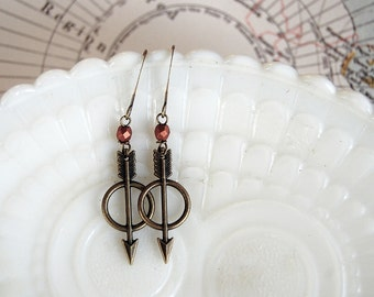 tiny warrior dangle earrings- arrows with copper bead detail- archer
