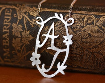 Handmade Decorative Double Initial Necklace - Flowers