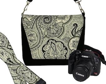 SET Dslr Camera Bag and Dslr Camera Strap, Camera Bag Slr and Camera Neck Strap, black paisley onyx MTO
