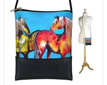 Clara Nilles Mini crossbody bag, Small sling bag, Cross body purse, Smartphone bag  iPhone 6 Plus Case, horses ponies RTS