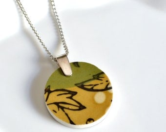 Simple Circle Broken China Jewelry  - Mustard and Green Modern