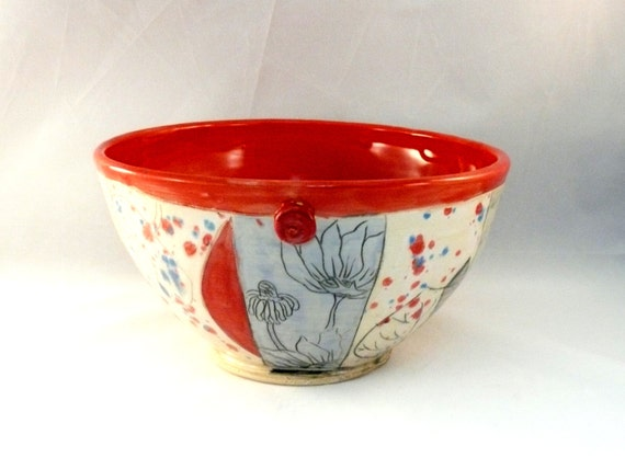 Ceramic serving bowl  in red with hand carved woodland design