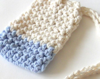Cotton Crochet Soap Saver, Light Blue and Ecru Soap Saver, Crochet Soap Sack, Crochet Soap Bag, Ecofriendly, Reusable
