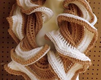Crochet Infinity Scarf Crochet Pattern, Infinity Scarf Pattern, Infinity Scarf Women, Cowl Scarf Pattern, Latte Crochet Ruffle Scarf Pattern