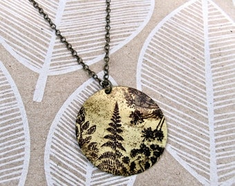 Long Necklace REVERSIBLE with Fern / Chevron Print on Antique Raw Brass * SALE * Coupon Codes