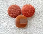 Orange buttons, rust buttons, fabric buttons, size 60 buttons, set of 3 buttons