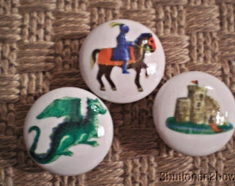 Ceramic Knobs Kids KNIGHTS ADVENTURE Castle Dragon per knob listing