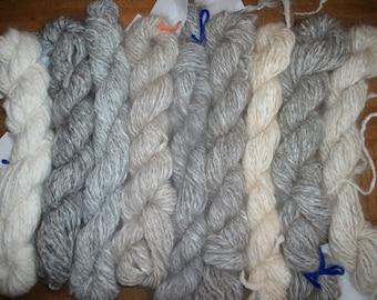 Handspun Angora Yarn, soft handspun natural angora yarn DK 100 Yd