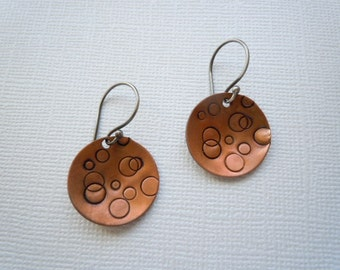 coper circle earrings