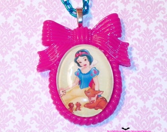 Hot Pink Snow White Cameo Necklace