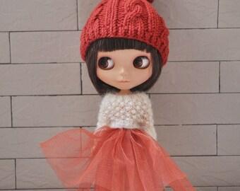 Babydoll TUTU Skirt for Blythe-Brick Red