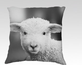 decorative pillow cover, throw pillow, photography pillow cover, nursery decor, lamb photograph black and white