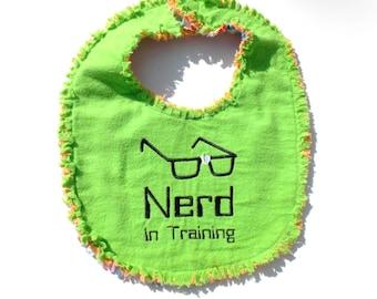 Nerd in Training Baby Bib - Baby Nerd Gift - Geek Baby Bib - Computer Nerd Baby Bib - Lime Green Baby Bib - Reversible Baby Bib -Raggy Style